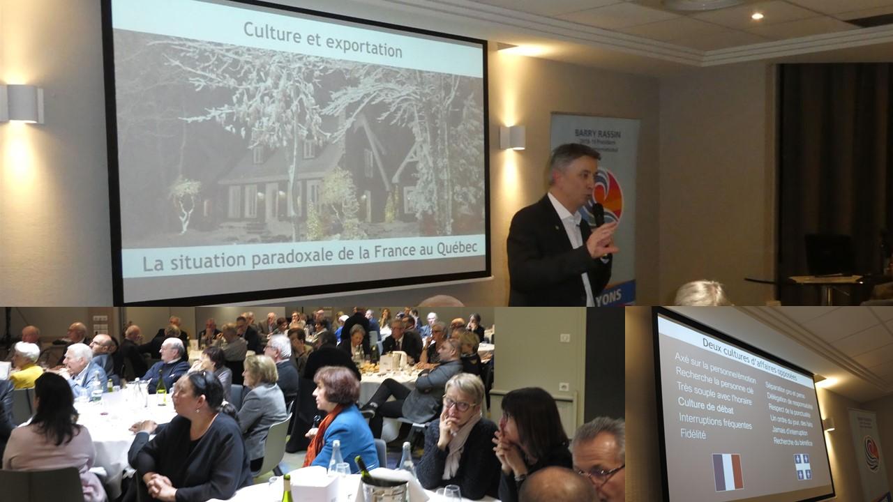 Conference de Francis Belime sur les exportations françaises au Québec pour les Rotary club de Grenoble France