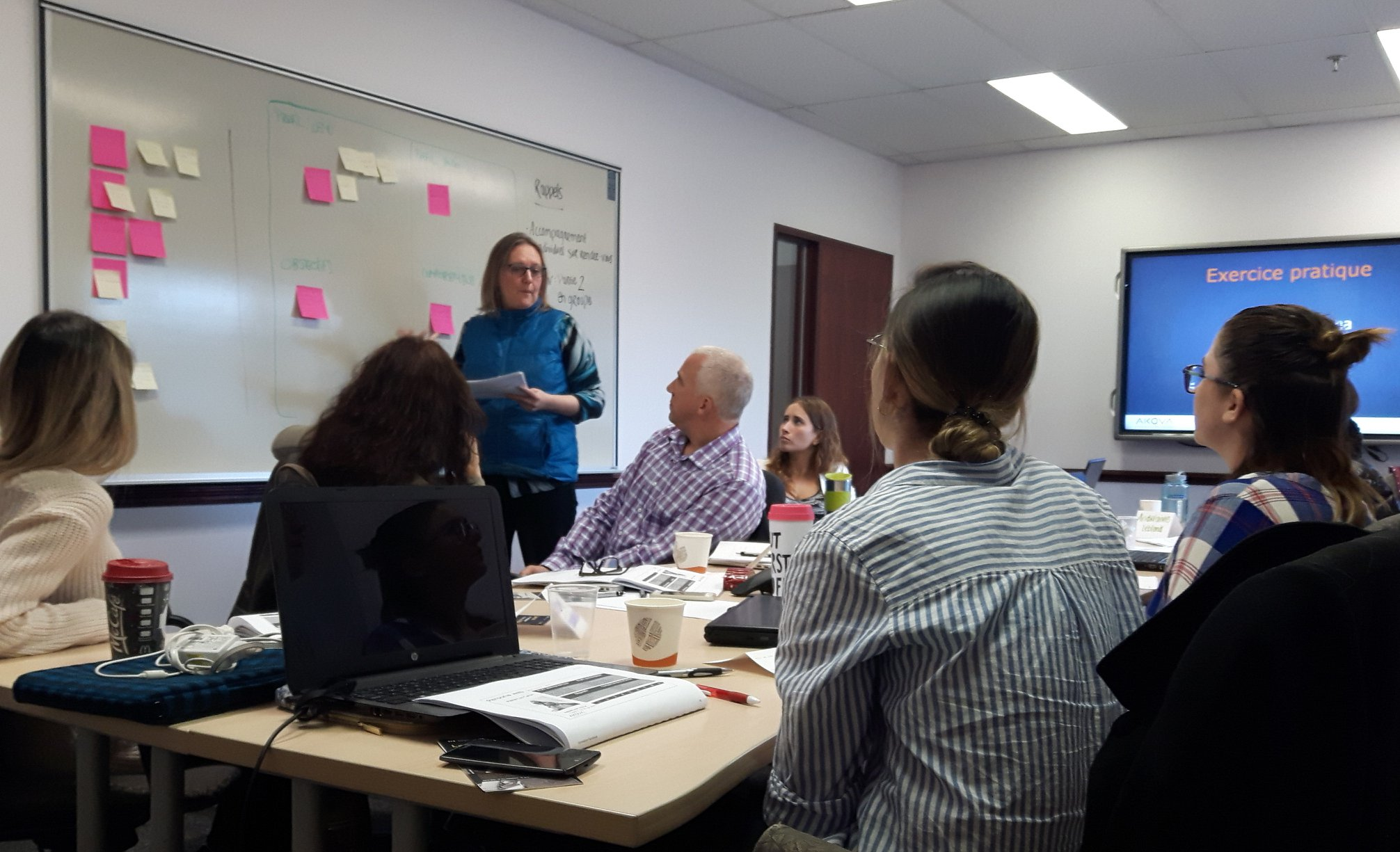 travail collaboratif entre les participants lors de la formation marketing web à Québec avec le formateur Francis Bélime