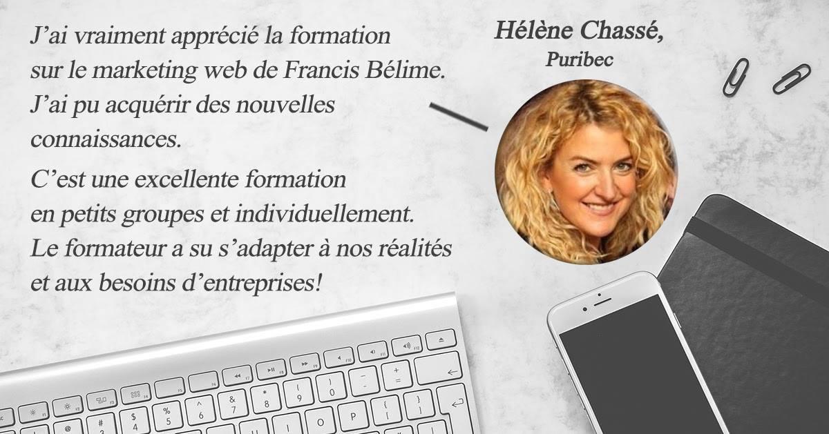 Une particpante de la formation marketing web témoigne de la qualité de la formation et de francis Bélime le formateur